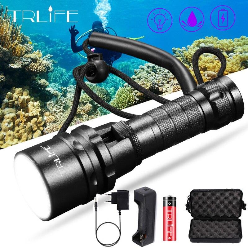 Профессиональный подводный светильник для дайвинга, подводная лодка, светильник s L2 200 м, подводный Диви для вспышки, светильник 18650, фонарь, ...
