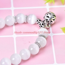 New White Bead Stretch Bracelet Body Slimming Weight Loss Anti-Fatigue Healing Bracelet Magnetic Therapy Bead Slim For Women
