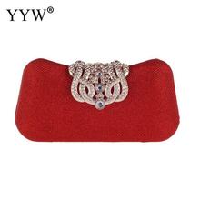 Wholesale Women Clutch Ba Red Crystal Wedding Handbag Purse Elegant Evening Party Bags Clutches Rhinestone Sac YYW