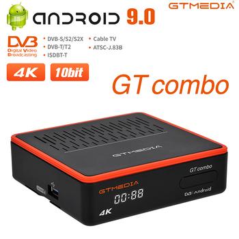 Nowy Android DVB TV pudełko GTMEDIA GTCOMBO Android 9 0 naziemny satelitarny odbiornik TV T2 S2X karta CA H 265 10 bit dekoder tanie i dobre opinie GT MEDIA 1000 M CN (pochodzenie) Amlogic S905X3 16 GB eMMC HDMI 2 1 2G DDR3 1x USB 2 0 1x USB 3 0 Wliczone w cenę DVB-S S2 S2X