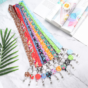 1PC New Printed Fabric Lanyard badge ID Card Holder Neck Strap Clip Mobile Phone Neck Straps Office School Supplies