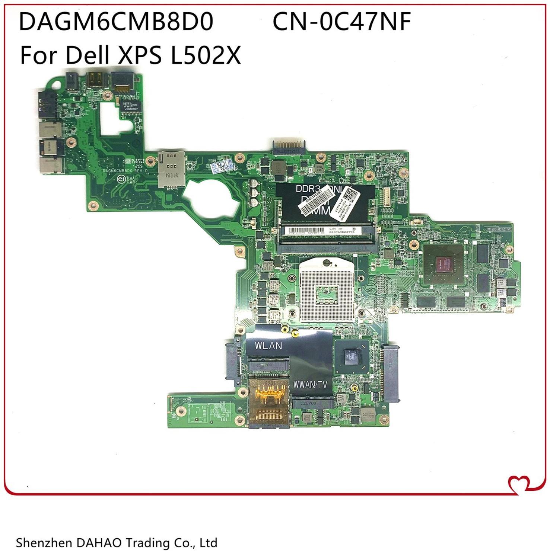 DAGM6CMB8D0 материнская плата для ноутбука Dell XPS L502X материнская плата портативного компьютера с HM65 GT525M/540 м 1GB-GPU CN-0C47NF C47NF 0C47NF 100% полностью Тесты
