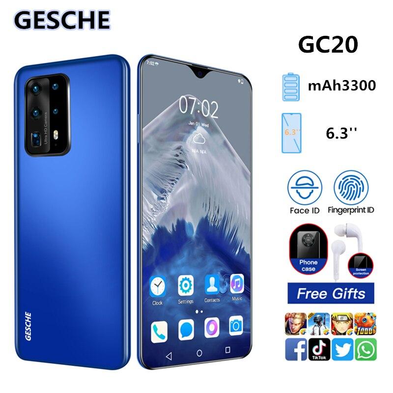 Смартфон GESCHE GC20, 2 + 16 ГБ, ИИ-режим, тройная камера, экран 6,3 дюйма FHD + Waterdrop, Android 9,0, распознавание лица, Cellura Helio P60, 3300 мАч