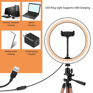 Image 3 - 10 Inch Selfie Ring Light with 50 Inch Tripod Stand & Phone Holder for Makeup Live Stream, LED Camera Ring Light with Remote Shu