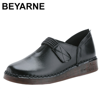BEYARNE spring genuine leather summer woman flat shoes solid hook buckle retro low heel casual shoes lady 2020soft flat comfort