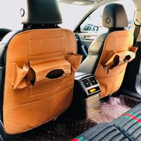 Cross Border Car Seat Back Storage Bag Car Mounted Multi-functional Backseat Pocket with Tray Leather-Supplies Chi Good