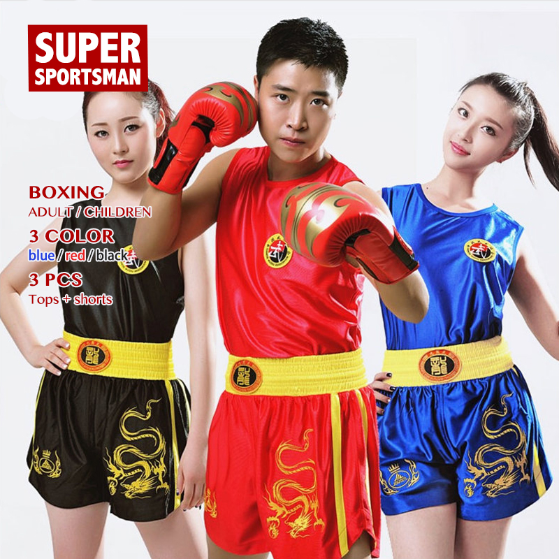 Men Women Kick Boxing Shirt Muay Thai Shorts For Boy Girl Performance Training Uniform Children MMA Clothes Kids Fight Wear Suit