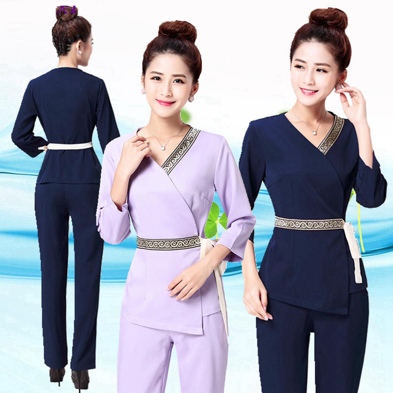 2019  Women's Trendy Waistband Scrubs Set/Medical Uniforms/ Beauty Parlor/Spa Club Tunics/High Quality