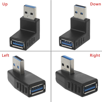 90 Degree Left Right Angled USB 3.0 A Male To Female Adapter Connector For Laptop PC Whosale&Dropship - sale item Accessories & Parts