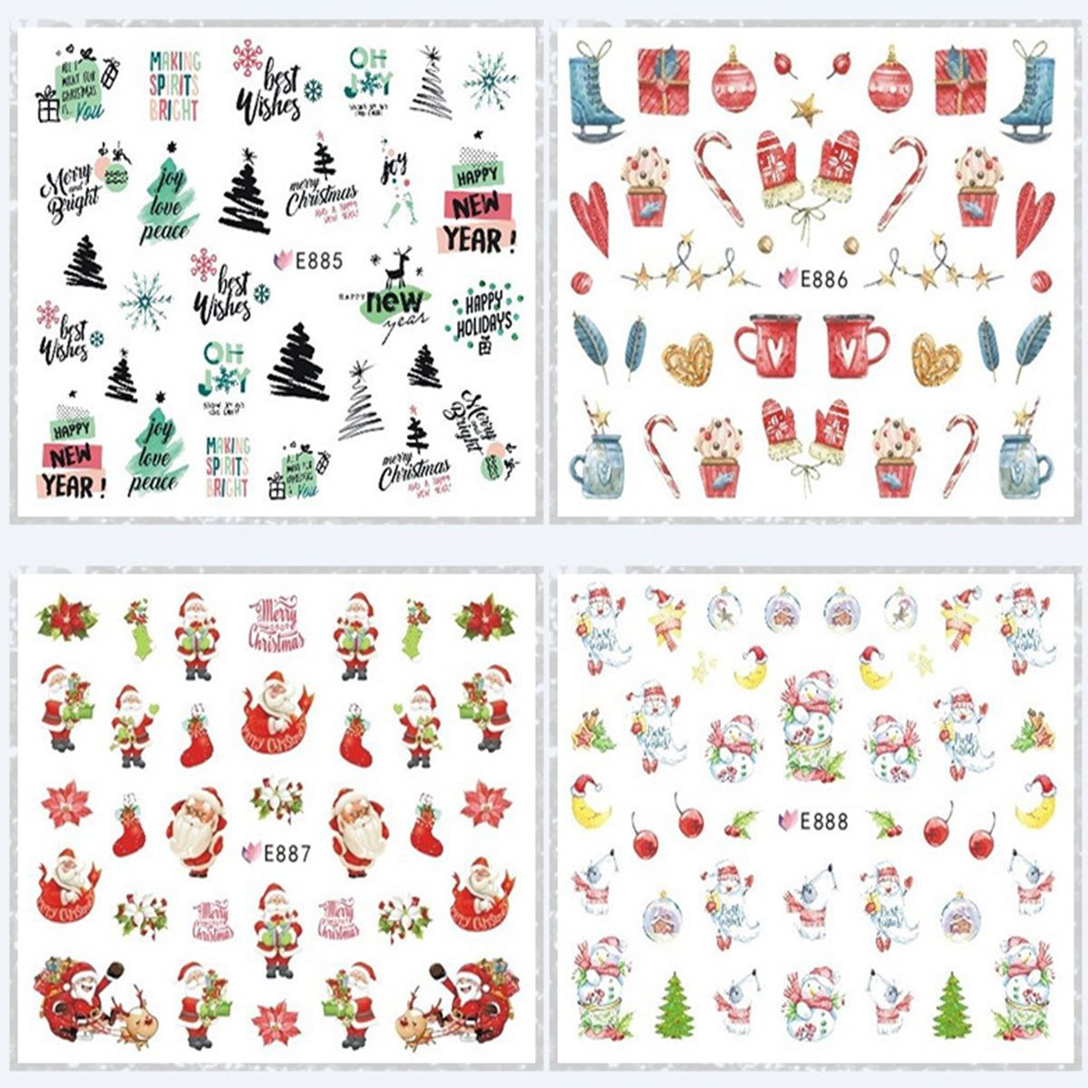 E875-896 Series Stereo Suspender Strap Glue Nail Sticker Field Santa Claus Nail Sticker Christmas Manicure Flower Stickers