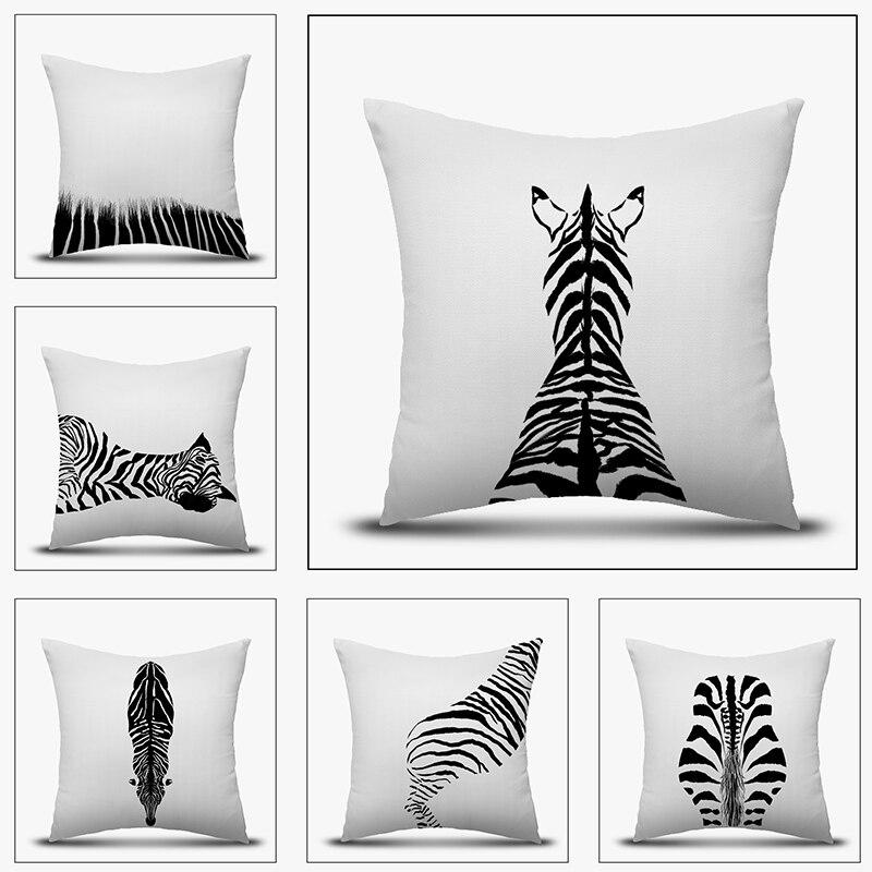Pillow Case Modern Minimalist Zebra Black White Cover Home Decorative Pillowcovers 18'' Sofa Bed Living Car Decor 45x45 CM