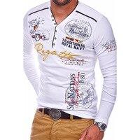 Zogaa 2019 брендовая мужская рубашка поло с длинным рукавом, мужская повседневная приталенная рубашка поло с принтом, Мужская дышащая верхняя о...