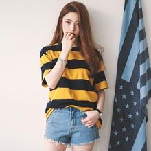 2019 Summer New T-Shirt Female Korean Version Casual Loose Striped Cute Short-Sleeved Women Fashion Trend O-Neck