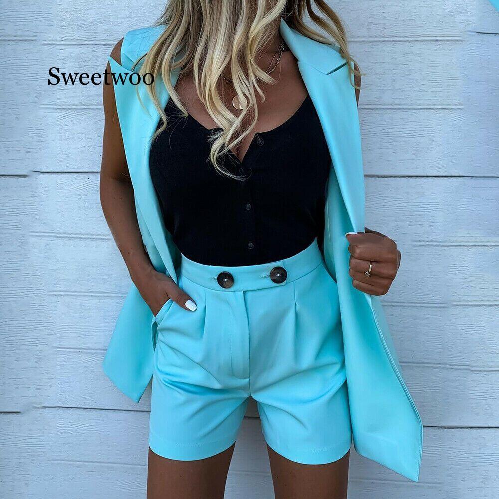 2020 Fashion Pocket Button Set Women Two-Piece Shorts And Sleeveless Coat Sets Female Blazer Vest Coat Suits