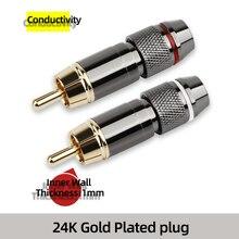 YYAUDIO Gold Überzog Rca stecker RCA stecker adapter Video/Audio Draht Anschluss Unterstützung 6mm Kabel schwarz & rot super schnelle