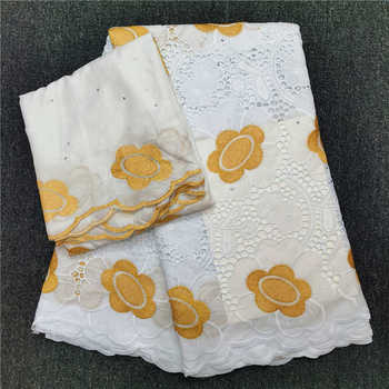 High Quality Nigeria Cotton African Guipure Swiss Voile Lace Fabric French Stones Embroidery Voile Lace Materials In Switzerland