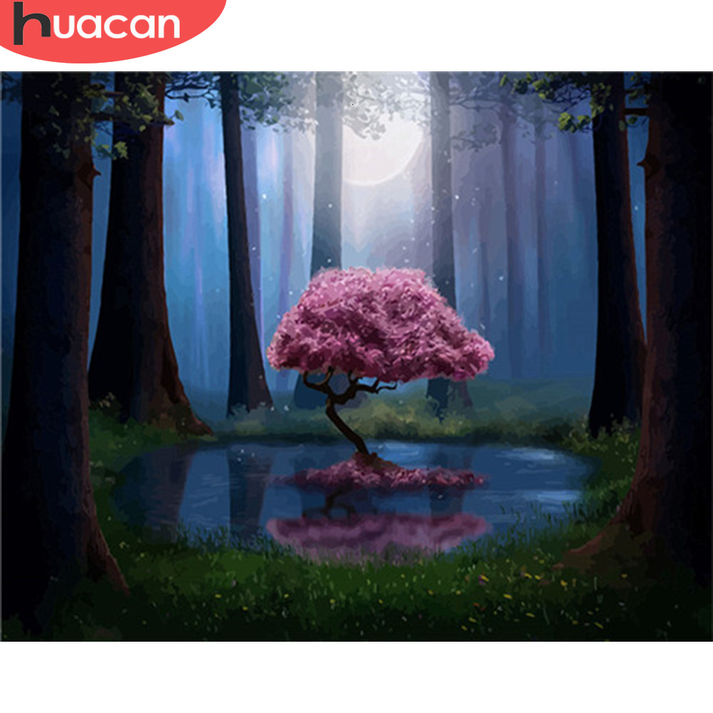 HUACAN DIY Painting By Numbers Landscape Forest Acrylic Paint By Numbers For Adult Wall Art Picture Tree Home Decors