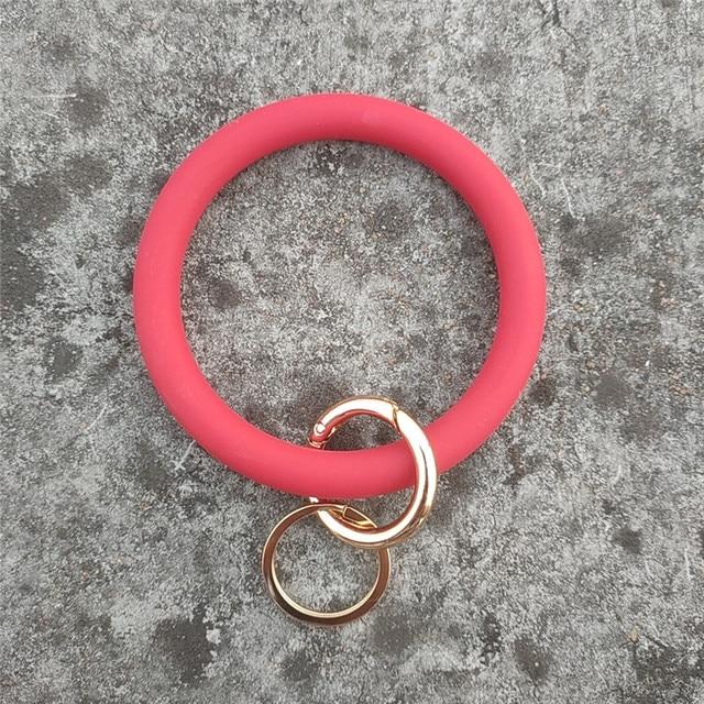 Metal Keyring Womens Bracelet Classic Pendant Bangle Round Keychain Wrist Strap