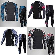 2019 Running Men Fitness Shirt MMA Rashguard Men Skull Print Male Long Sleeve T Shirt 3D Bodybuilding Crossfit Tee Tops