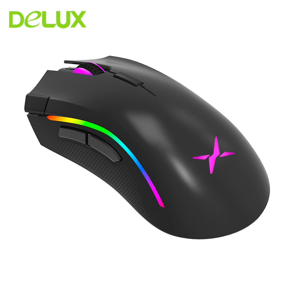 DELUX M625 PMW3360 RGB Gaming Mouse Gamer Ergonomic Wired Computer Optical Sensor Mause 12000 DPI 7 Button Usb Game Mice For PC