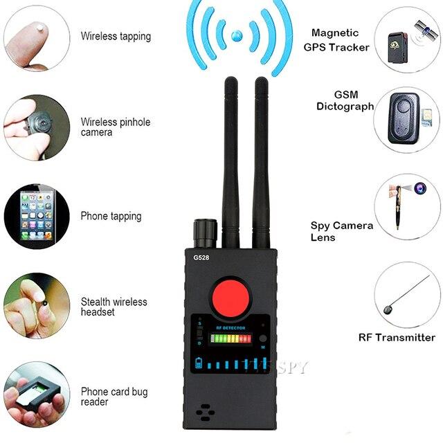 เสาอากาศคู่G528 Anti Candidซ่อนกล้องเครื่องตรวจจับRFสัญญาณSecret GPSเสียงGSMโทรศัพท์มือถือWifi Pinhole Cam Spy bug Finder