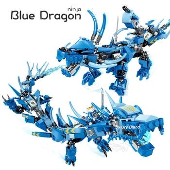 Jay Flying Blue Ninja Dragon Mech Ninjagoes Series 2in1 Set Figures DIY Model Building Blocks Toys For Boy Children Gifts 1