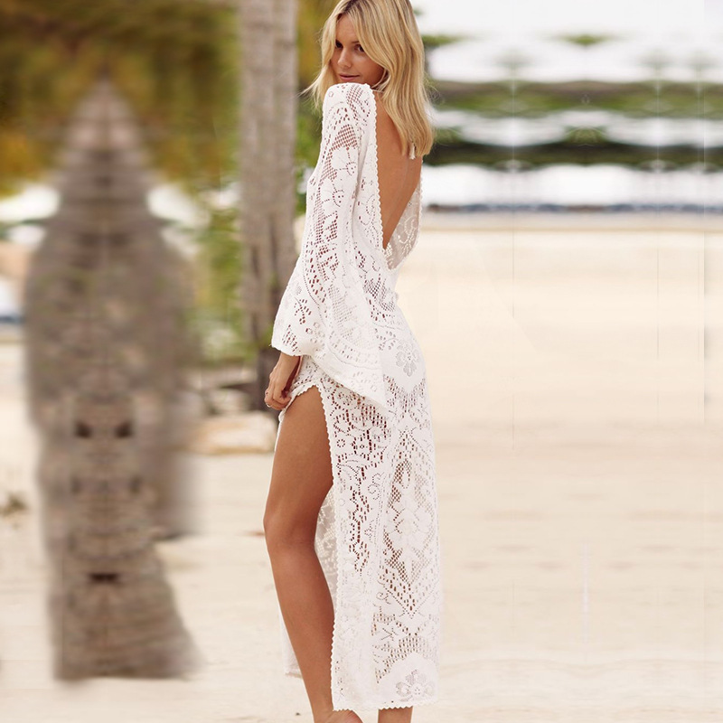 Backless Beach Cover Up Hollow Swimsui Women Coverup Solid Bathing Suit Cover ups Cardigan Sexy Tapados Mujer Lace Beach Dress in Cover Ups from Sports Entertainment