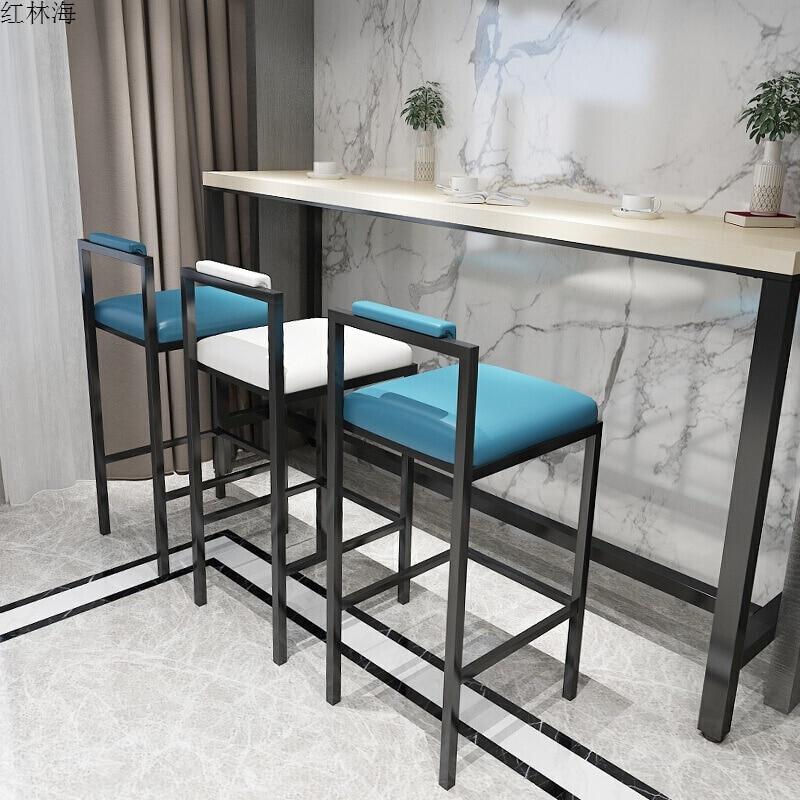 Nordic Modern Minimalist Bar Stool Bar High Stools Home Wrought Iron Coffee Shop Solid Wood Strip Table