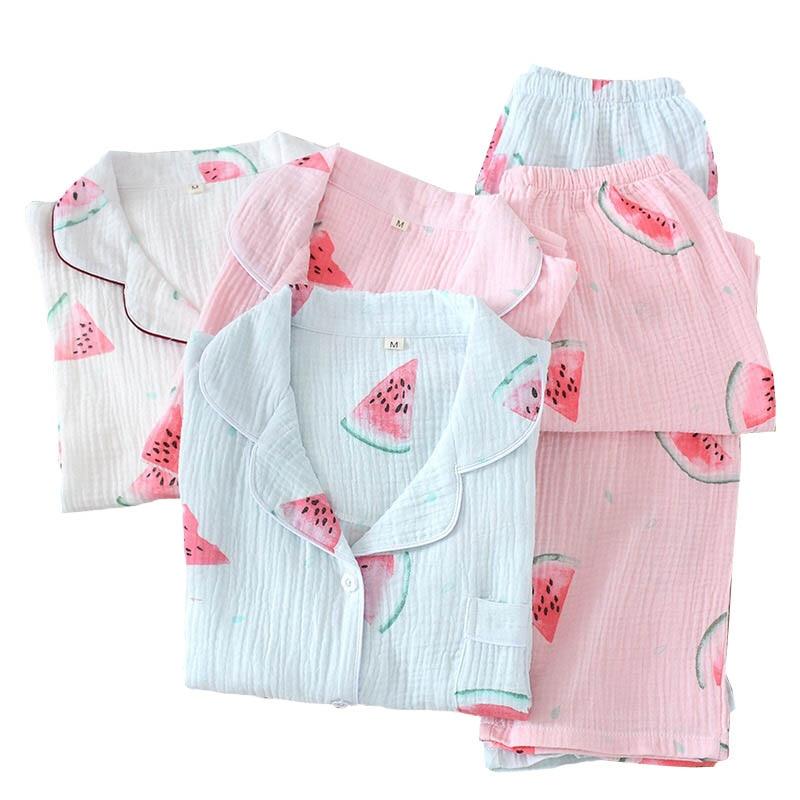 Women Spring And Fall Gauze Cotton Turn-down Collar Long Sleeve Clothes+Pants Cartoon Watermelon Printed Ladies Thin Homewear
