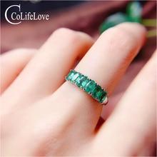 CoLife Jewelry 925 anillo de plata con forma de Esmeralda para uso diario 6 uds. Anillo de plata con Esmeralda Natural de mezclilla