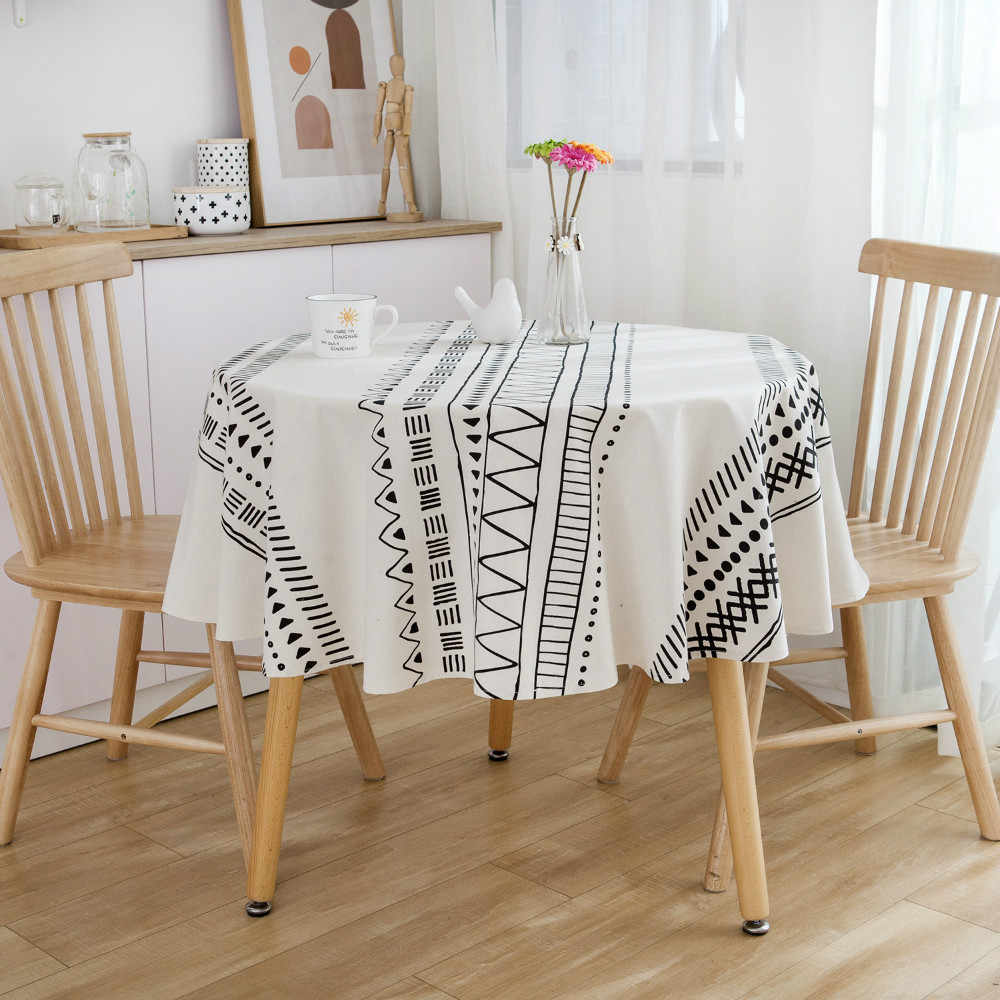 Ethnic Bohemian Print Cotton Linen Dining Table Cloth Cover Photography Backdrop
