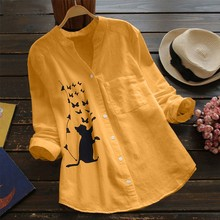 Damskie bluzki z dekoltem w serek plisowany nadruk kota z długim rękawem Casual bluzki bluzki Dames bluzki Lange Mouwen Blusas bluzki damskie tanie tanio ISHOWTIENDA Poliester REGULAR Peter pan collar WOMEN NONE Pełna Na co dzień Suknem Stałe