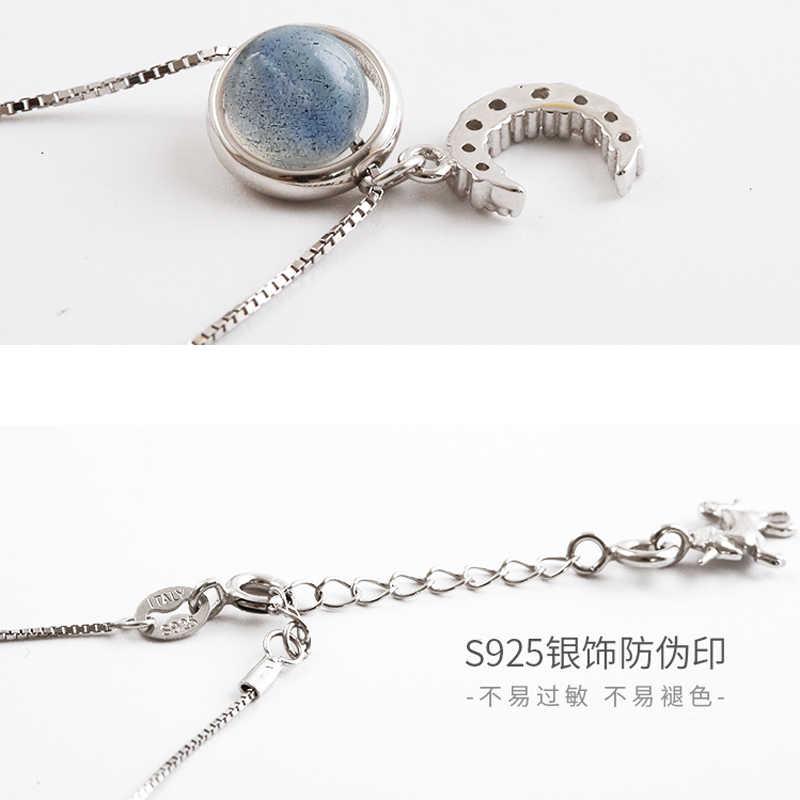 Neue 925 Sterling Silber Rocking Horse Charm Anhänger Natürliche Stein Halskette Für Frauen Schlüsselbein Kette Halskette Edlen Schmuck Geschenke
