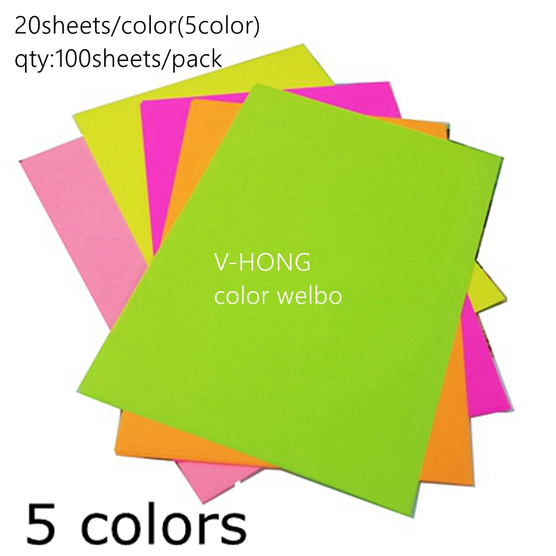 Colour Paper A4 Hand Origami Children's Mixed Red And Black Colour Photocopy Paper 80g Fluorescent Printing Paper