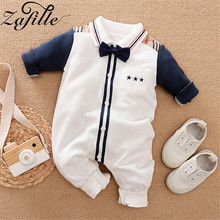 ZAFILLE 2020 Baby Romper Long Sleeve Newborn Infant Baby Boy Clothes Gentleman Baby Jumpsuit Cotton Kids Clothes Boys Clothing 2016 baby boy romper newborn clothing rompers baby clothes college style waistcoat romper infant gentleman romper kid s jumpsuit