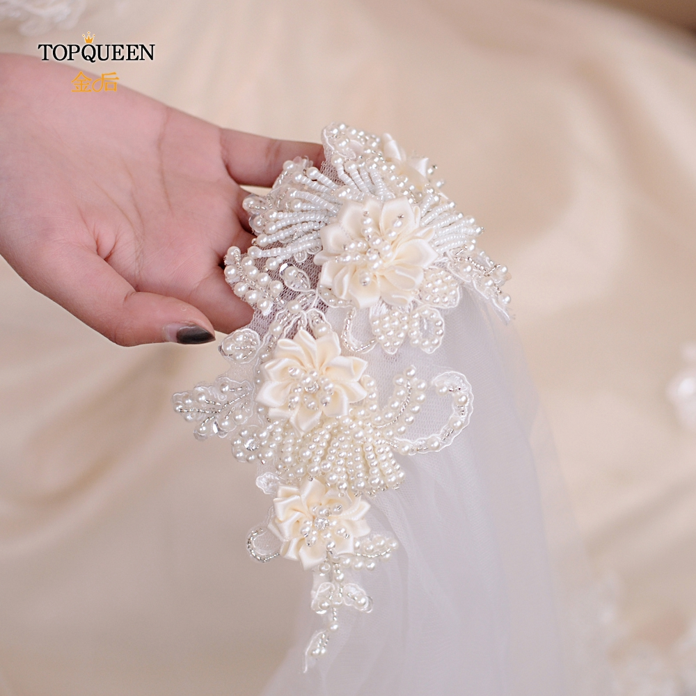 TOPQUEEN Sequin veil cathedral Elegant wedding veils bride 1 layers Glitter veil Wedding Accessories Woman's accessories VS346