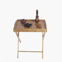 Bamboo Fine Workmanship Flood Standing Folding Dining-table Save Space Folded Easily Wood Color