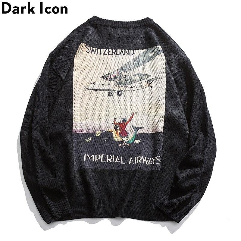 Dark Icon Printed Men Women Sweater Men Knitwear Pullover Men's Sweaters Street Sweater For Men 2Colors