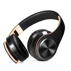 Image 2 - Nowy przyjazd!! W kolorze błyszczącego złota kolory słuchawki Bluetooth bezprzewodowe słuchawki stereo słuchawki douszne z mikrofonem/kartą TF