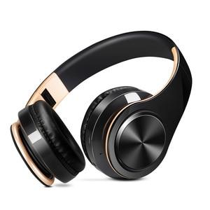 Image 2 - ¡Recién llegado! Auriculares Bluetooth en color oro brillante, auriculares inalámbricos estéreo con micrófono y tarjeta TF