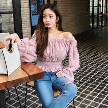 CINESSD The Sexy Off Shoulder Blouse Render Tops Women Autumn Winter Korean Pink Long Flare Sleeve Knitted Warm clothes