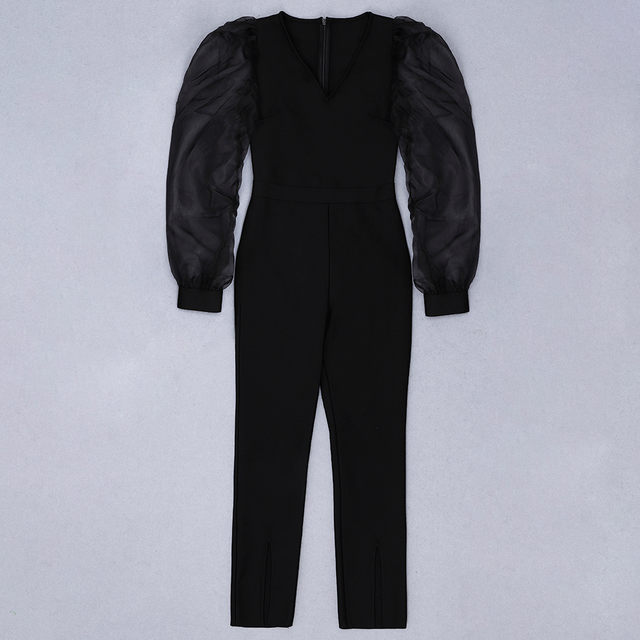 Ocstrade uzun kollu seksi tulum kadınlar için 2020 moda siyah örgü tüm siyah bandaj tulum Bodycon kulübü parti tulum