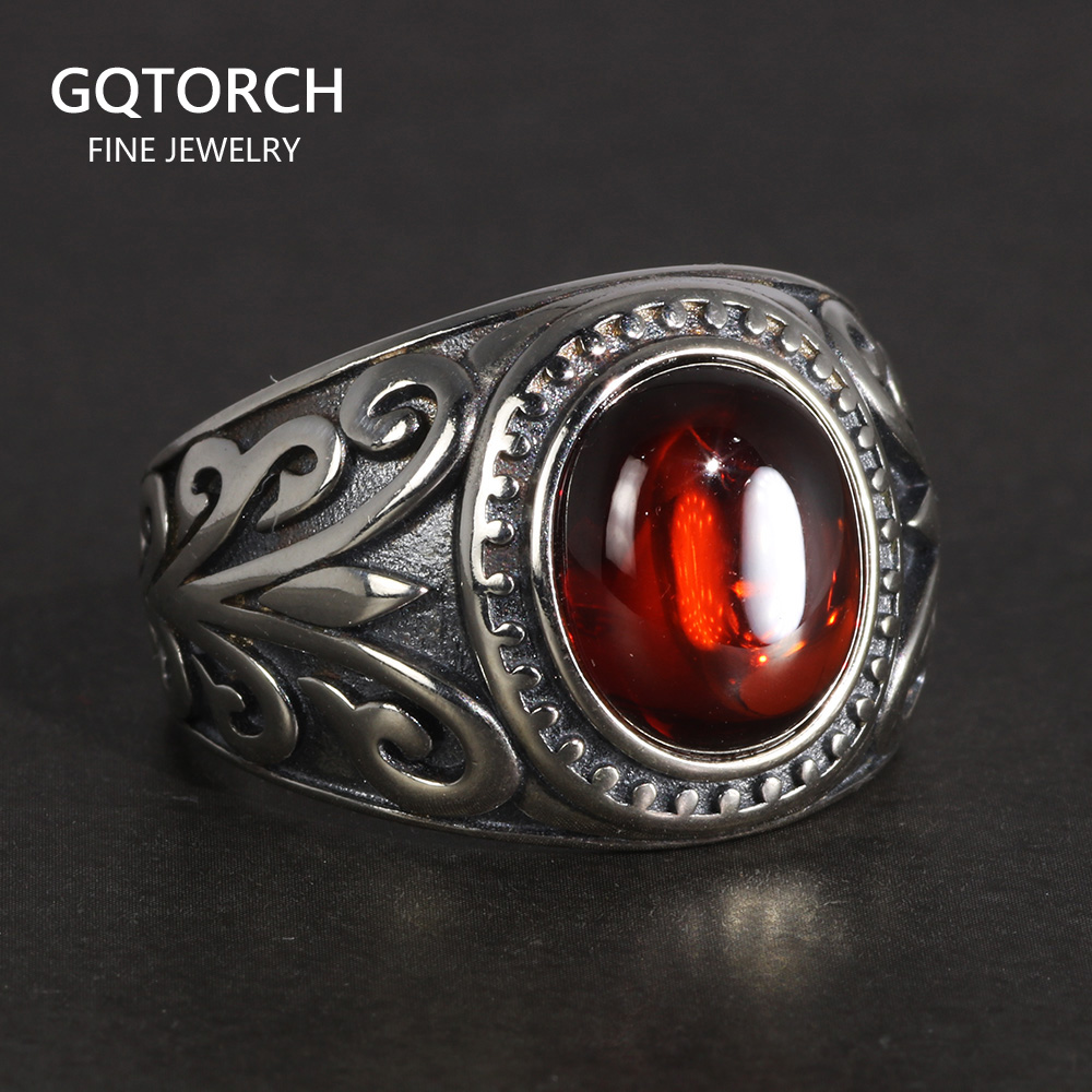 Real 925 Sterling Silver Jewelry Vintage Rings For Men Engraved Flowers With Red Garnet Natural Stone Fine Jewelleryring forrings for menvintage ring -