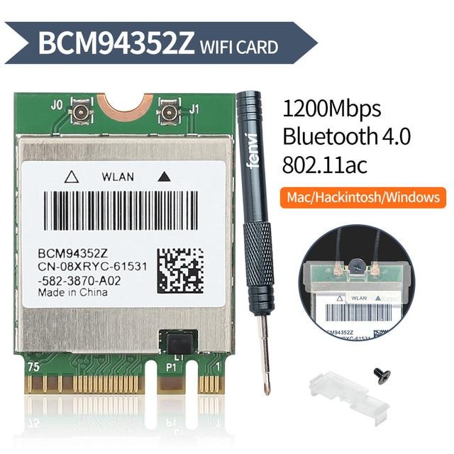 ثنائي النطاق BCM94352Z 867Mbps بلوتوث 4.0 802.11ac BCM94360CS2 NGFF M.2 واي فاي WLAN بطاقة DW1560 لأجهزة الكمبيوتر المحمول ويندوز ماك هاكينتوش