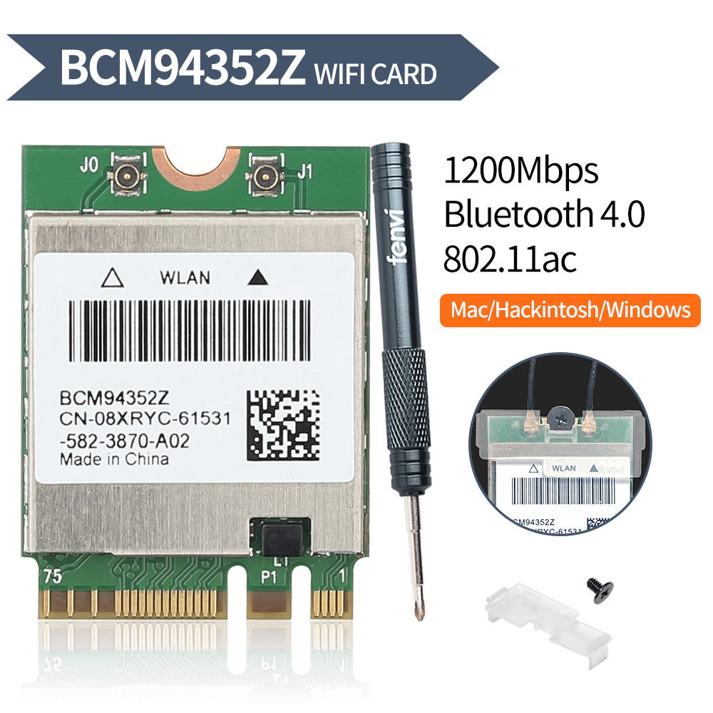 Dual band BCM94352Z 867Mbps Bluetooth 4.0 802.11ac BCM94360CS2 NGFF M.2 WiFi WLAN Card DW1560 For Laptop Windows macOS Hakintosh(China)