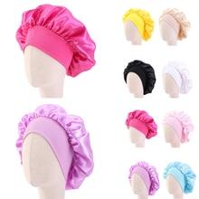 Hat Bonnet-Cap Satin Cancer Girl's Wide Kids Wrap Hair-Accessories Elastic-Band Night-Sleep