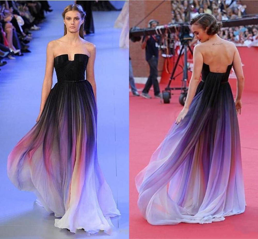 Cheap 2020 Elie Saab Evening Prom Dresses Belt Backless Black Chiffon Formal Occasion Party Gowns Robe De Soiree Abendkleider