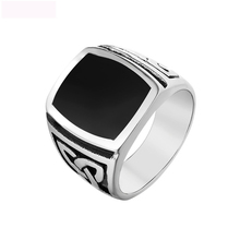 Luxury Black Oil Drop Craft Jewelry Rings Vintage Titanium Steel Ring Rectangle Crystal Ring Jewel Ring For Men Party Gifts цены онлайн