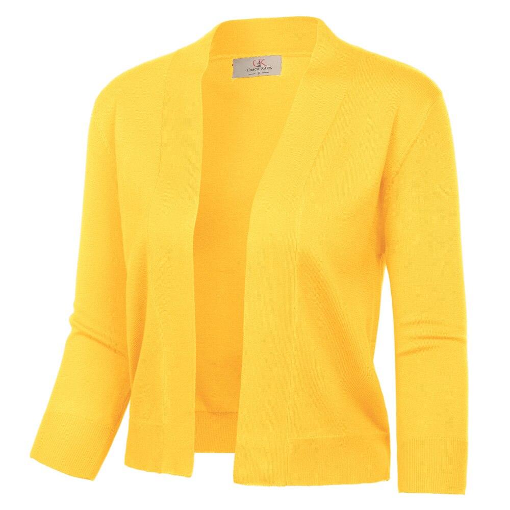 Jacket Women Shrug 3/4 Sleeve Opening Front Bolero Solid Slim Autumn Spring Ladies Elegant Cropped Length Knitting Coat Tops