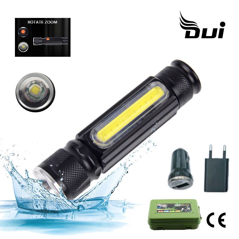 DUI XML T6+COB Multi-function USB Rechargeable Flash Light Torch Working Maintenance Portable LED Flashlight Camping Lamp